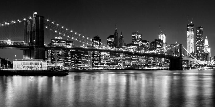 New York Photograph - Night Skyline Manhattan Brooklyn Bridge Bw by Melanie Viola