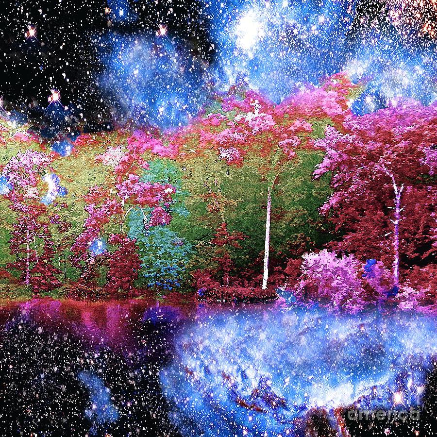 Night Painting - Night Trees Starry Lake by Saundra Myles