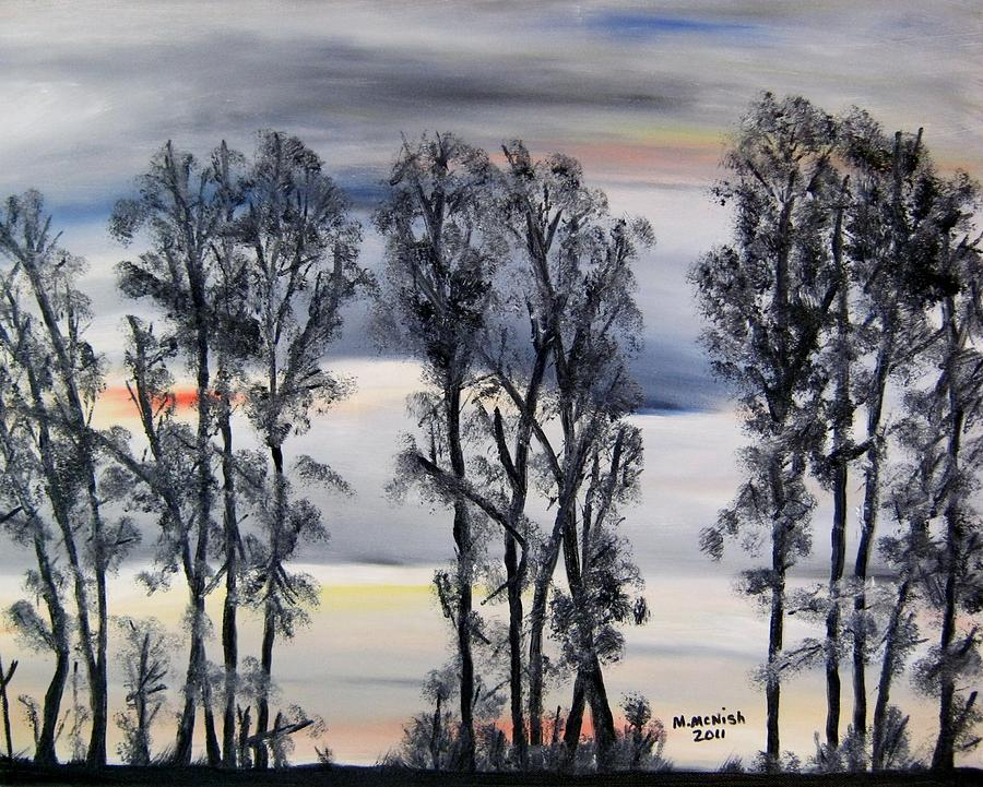 Treeline Painting - Nightfall Approaching by Marilyn  McNish