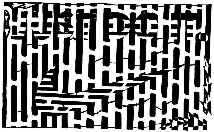 Just Do It Drawing - Nike Maze by Yonatan Frimer Maze Artist