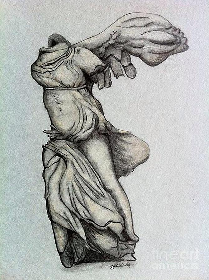 Nike Of Samothrace Drawing