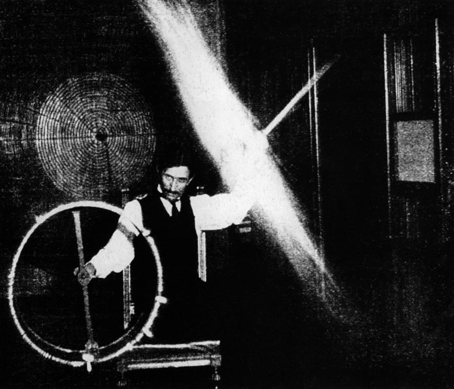 Nikola Tesla 1856 1943 Conducted Photograph By Everett