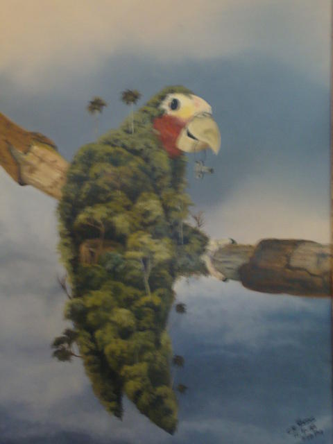 Landscape On A Parrot Painting - No Hay Flora Sin Fauna by Carlos Rodriguez Yorde