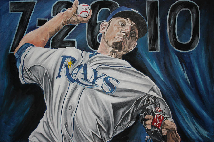 Original Oil Painting Of Matt Garzas No Hitter Against The Detroit Tigers. Painting - No Hitter by David Courson