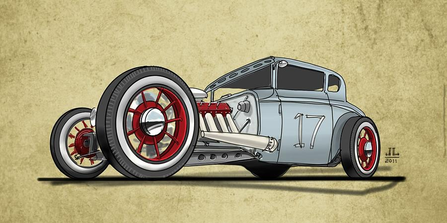Hot Rod Drawing - No.17 by Jeremy Lacy