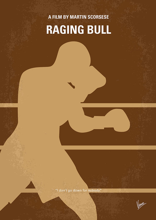 No174 My Raging Bull Minimal Movie Poster Digital Art