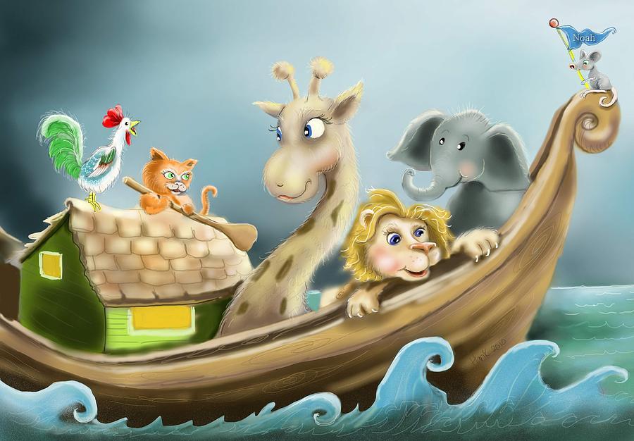 Noah's Ark Illustration Drawing - Noahs Ark by Hank Nunes