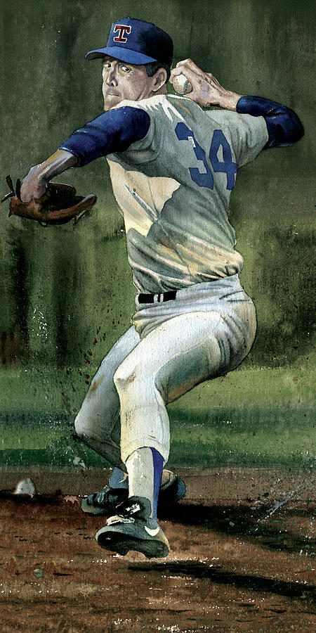 Baseball Painting - Nolan Ryan by Rich Marks
