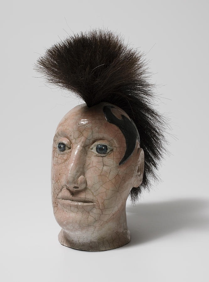 Ceramic Head Ceramic Art - Nomadic Hunter by Jason Galles