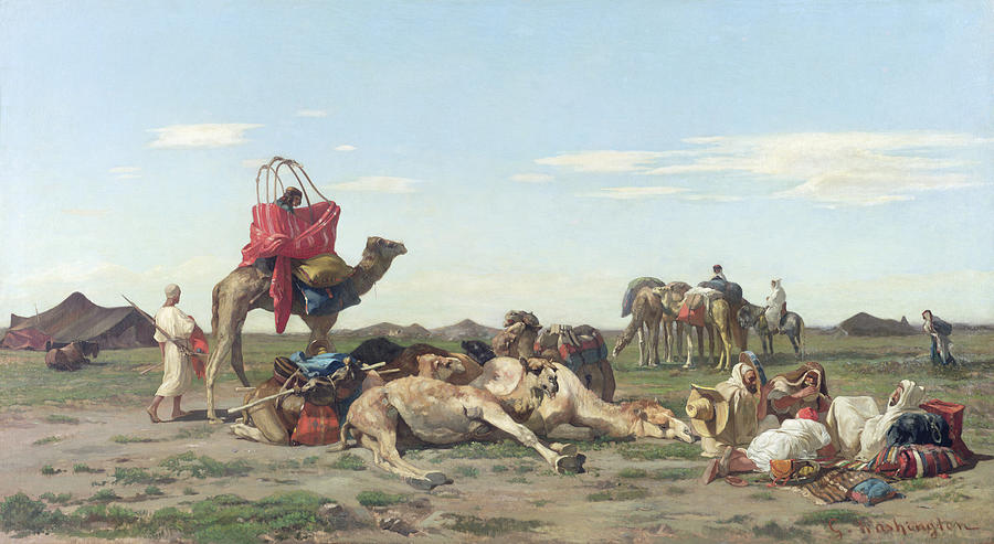 Nomads Painting - Nomads In The Desert by Georges Washington