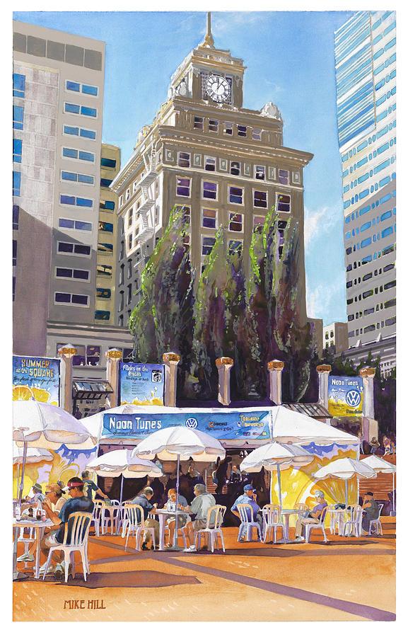 Noon Tunes Pioneer Square Portland Oregon Umbrellas Yellow Cityscape Shadows Music Concert Blues  Painting - Noon Tunes Pioneer Square by Mike Hill