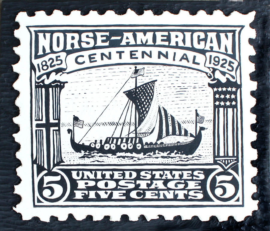 Ship Painting - Norse-american Centennial Stamp by James Neill