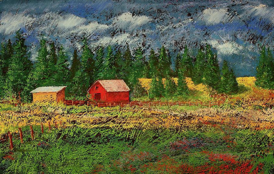 Soft Pastel Painting - North Idaho Farm by David Patterson