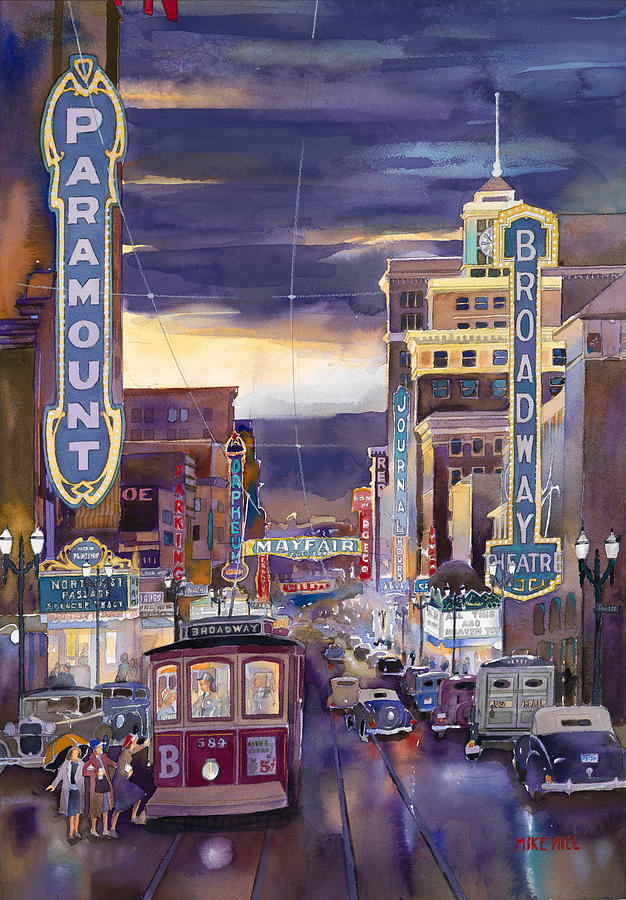Portland Oregon Broadway Street Car Theater Theatre Rainy Wet Buildings Paramount Mayfair Orpheum Ford Car Cars Automobile Clouds Sunset Watercolor Painting Northwest Rain Reflections Night Lights Signs Journal Building Lighting Glow Painting - North On Broadway 1940 by Mike Hill