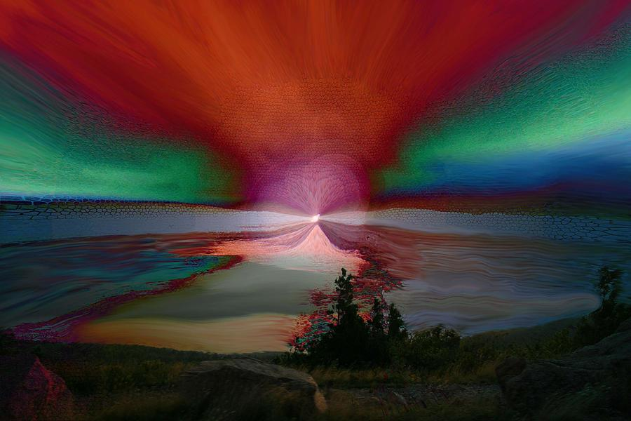 Digital Painting Photograph - Northern Lights by Linda Sannuti