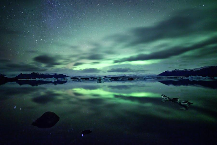 Northern Lights Over Jokulsarlon Photograph