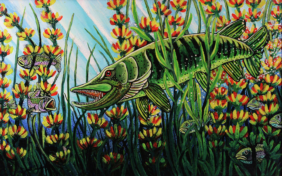 Northern Pike Painting - Northern Pike by Bob Crawford