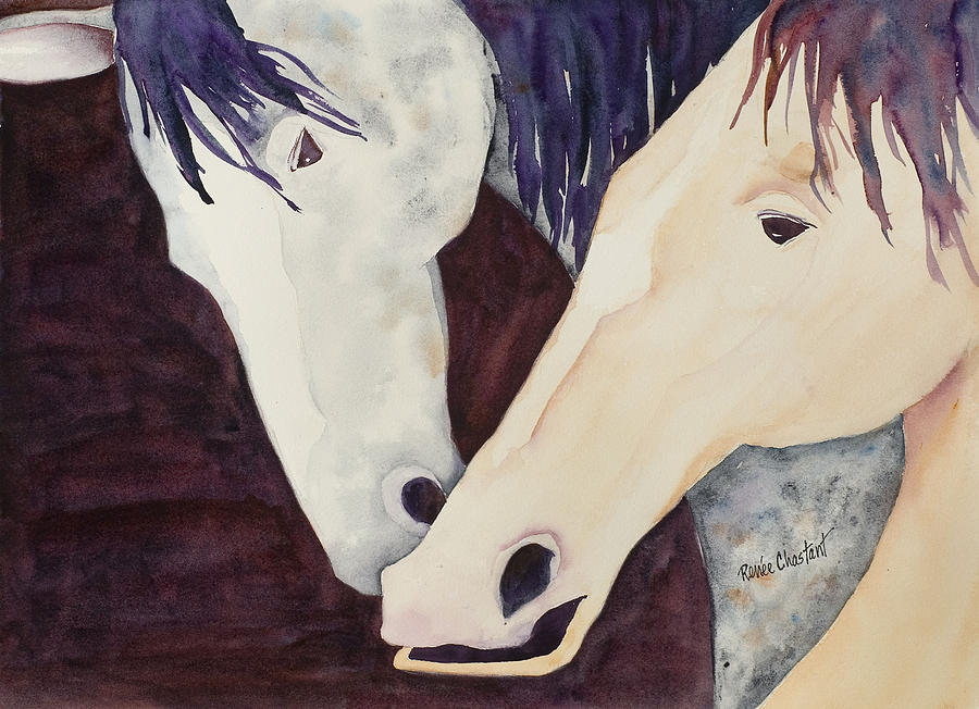 Horse Painting - Nose To Nose II by Renee Chastant