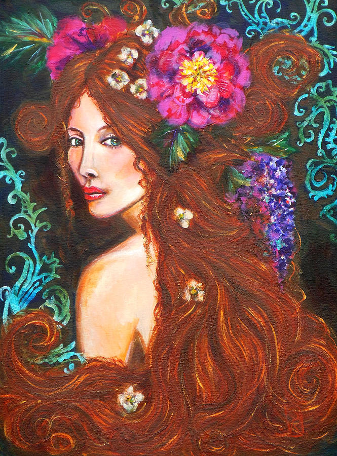 Acrylic Painting Painting - Nouveau Beauty by Kimberly Van Rossum