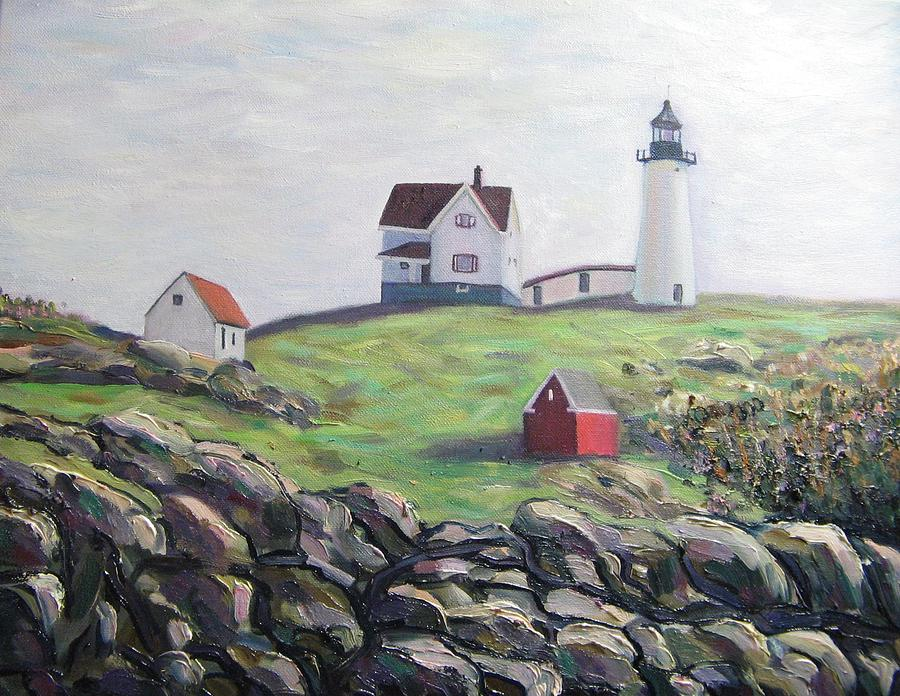 Maine Painting - Nubble Light House by Richard Nowak