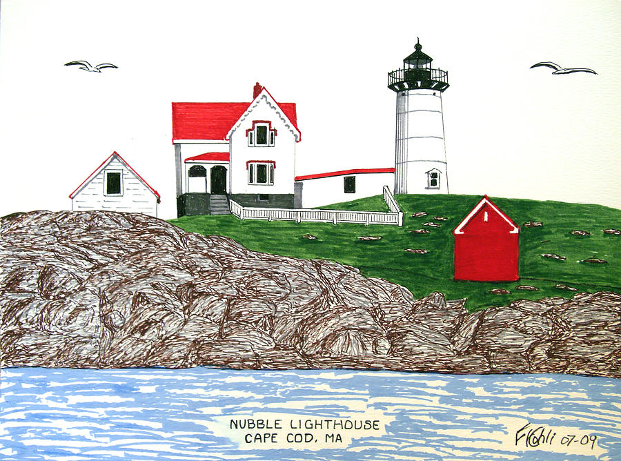 Lighthouse Drawings Drawing - Nubble Lighthouse At Cape Neddick by Frederic Kohli