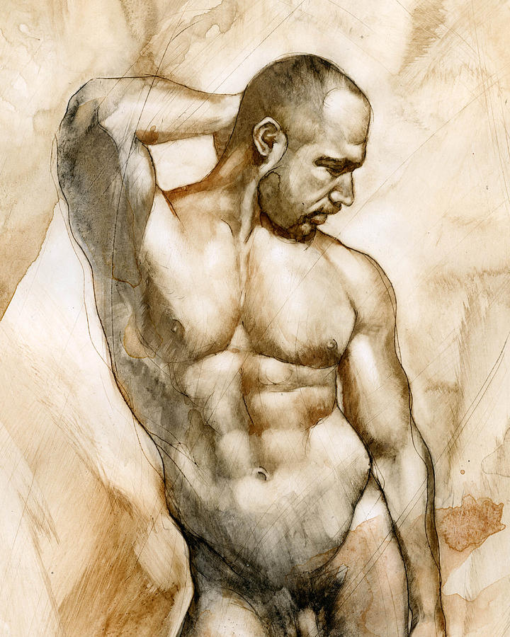Man Painting - Nude 46 by Chris  Lopez