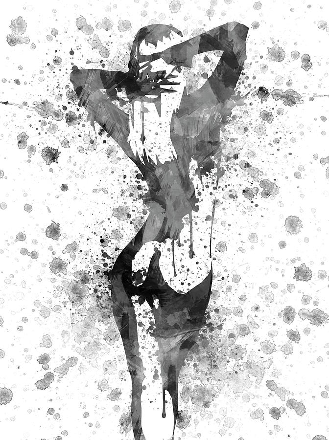 Nude In Black And White Digital Art