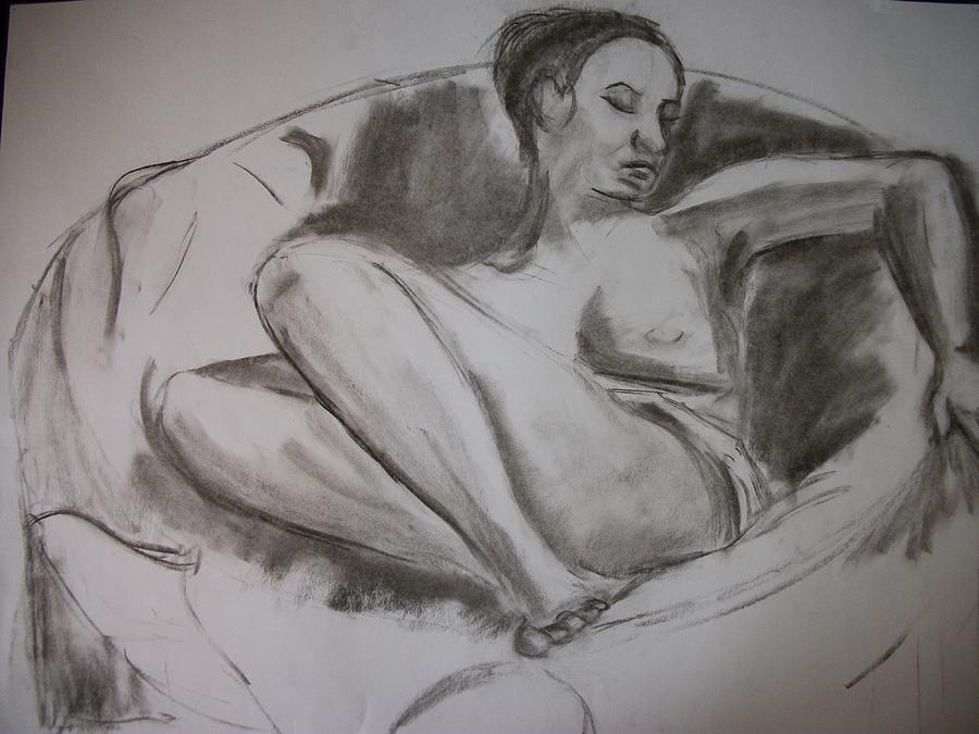 Nude Drawing - Nude In Chair by Adam Davis