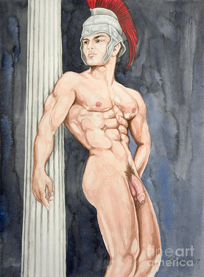 Battle Of Thermopylae Painting - Nude Male Spartan by The Artist Dana