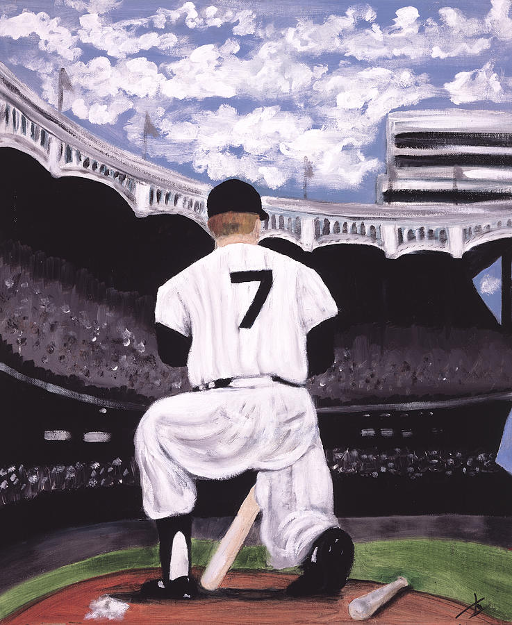Baseball On Canvas Painting - Number 7  by Jorge Delara