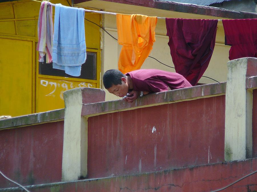 Swayambunath Photograph - Nuns Personal Morning Ceremony by Dagmar Batyahav