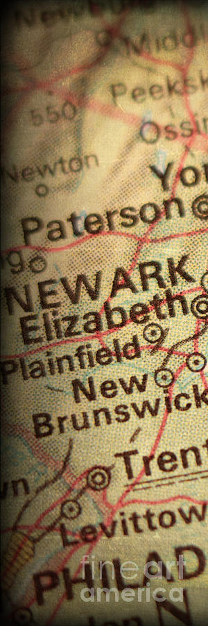 New York City; Nyc; Map; Panel; Section; Atlas; Heart; Love; New York; Grunge; Vintage; Antique Photograph - Nyc Enlarged - Left Panel Of 3 by ELITE IMAGE photography By Chad McDermott