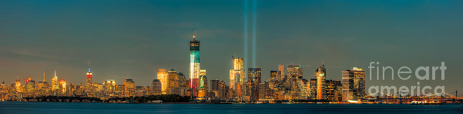 Clarence Holmes Photograph - Nyc Tribute In Light Skyline Panorama I by Clarence Holmes