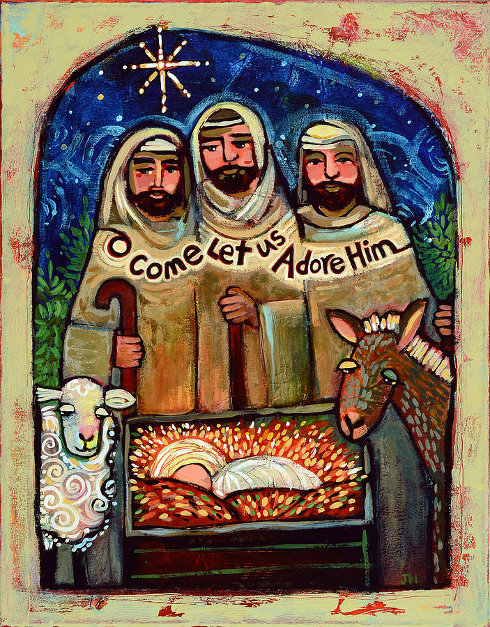O Come Let Us Adore Him Shepherds Painting