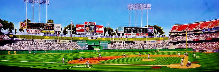 Baseball Painting - Oakland Coliseum by T Kolendera