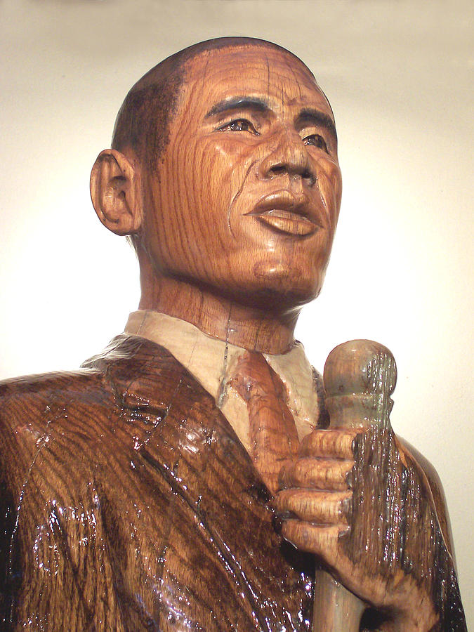 Sculpture - Obama In A Red Oak Log - Up Close by Robert Crowell