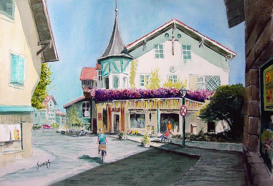 German Painting - Oberammergau Street by Sam Sidders