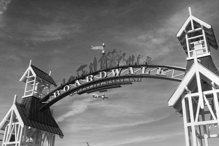 Ocean City Boardwalk Black And White Photograph by ...