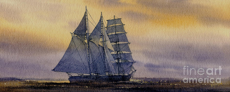 Sailing Vessel Print Painting - Ocean Dawn by James Williamson