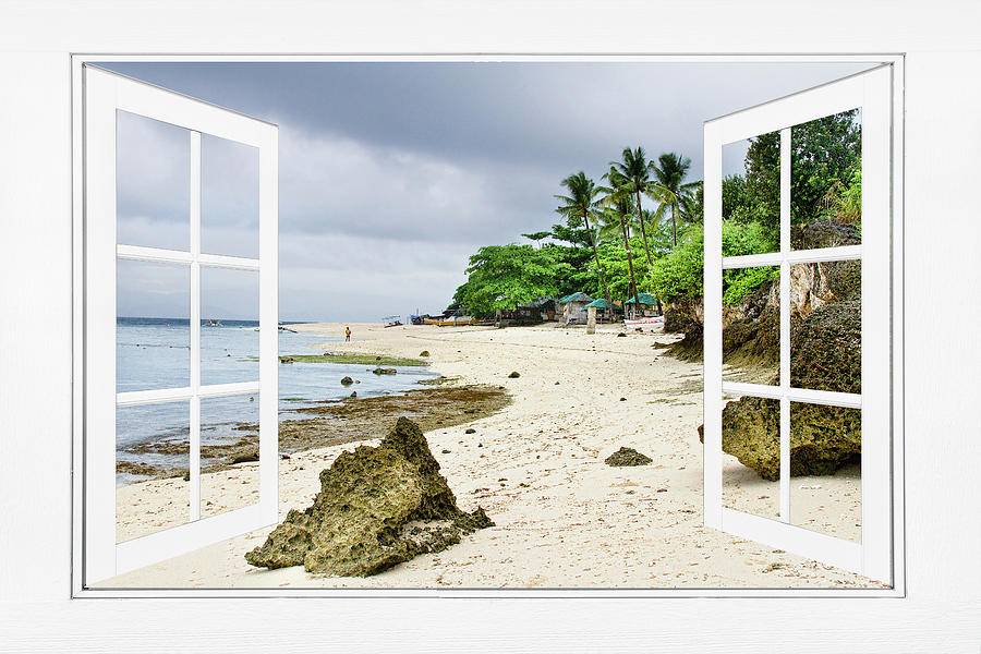 Ocean Front Beach Open White Picture Window Frame Canvas Art Vie Photograph