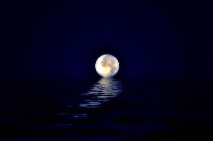 Ocean Moon Photograph