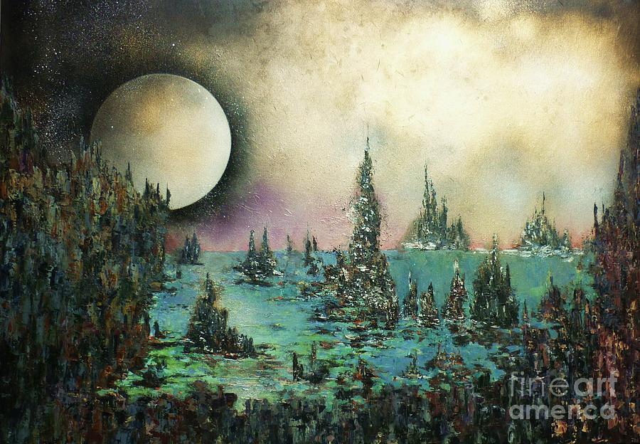 Landscape Painting - Ocean Moonrise by Kaye Miller-Dewing