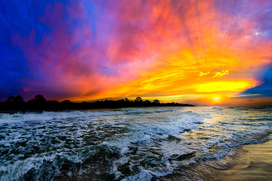 Ocean Sunset Landscape Photography Red Blue Sunset ...