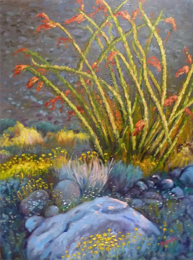 Desert Painting - Ocotillo At Dusk by Bonita Waitl