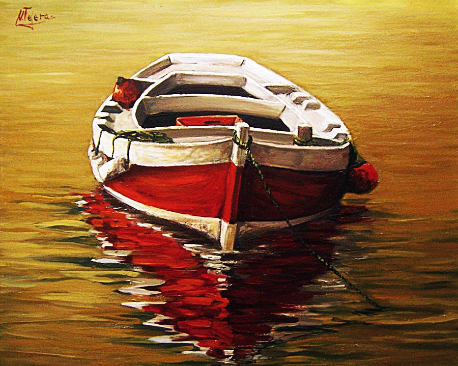 Waterscape Seascape Sea Ocean Waterpond Boat Refleciton Painting - Ocre S Sea by Natalia Tejera
