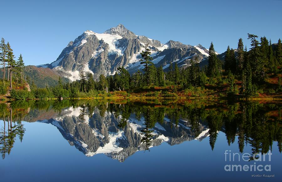 Mountain Reflection Lake Summit Mirror  Photograph - October Reflection by Winston Rockwell