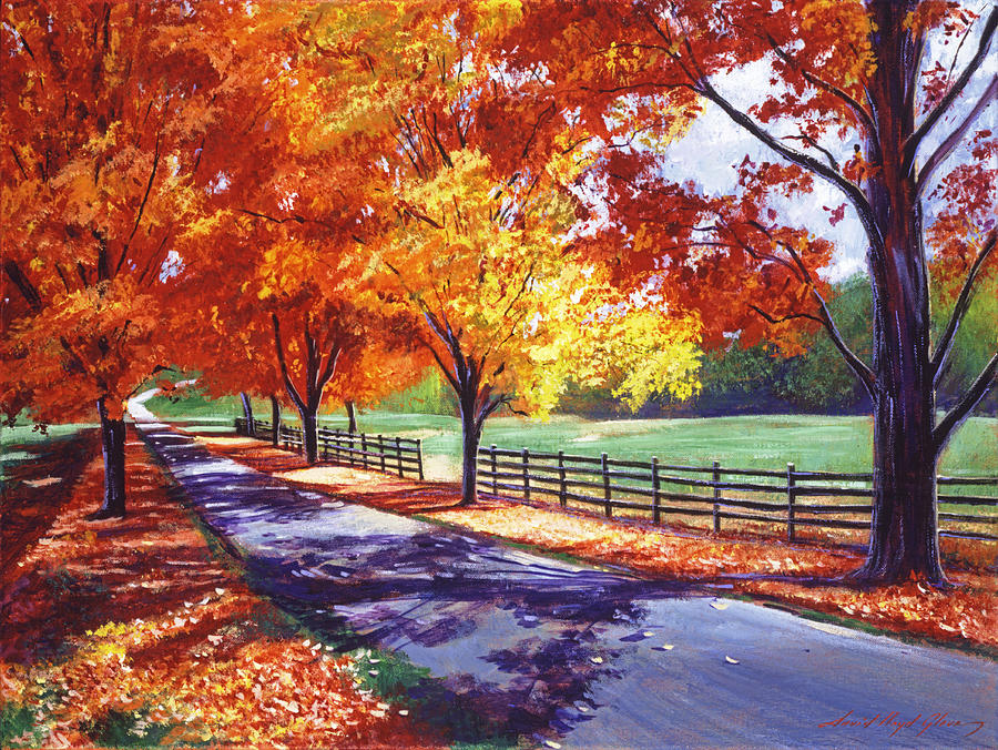 Autumn Leaves Painting - October Road by David Lloyd Glover