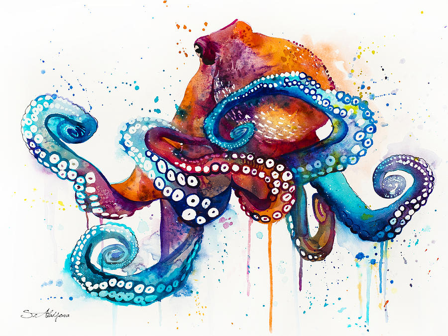 Octopus painting by slavi aladjova for Colorful octopus painting