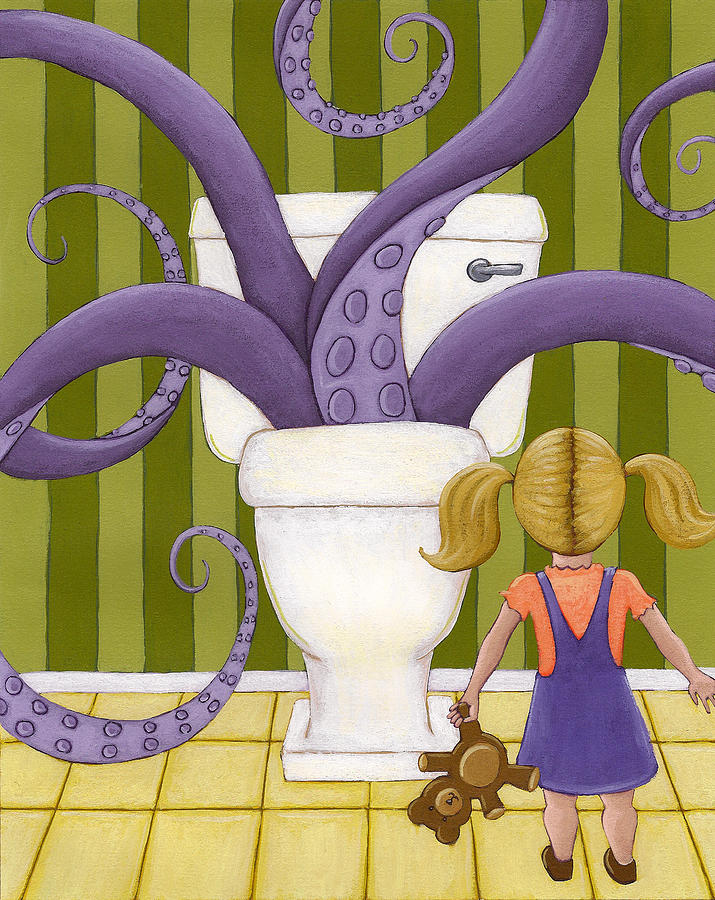Bathroom Painting - Octotoillet by Christy Beckwith