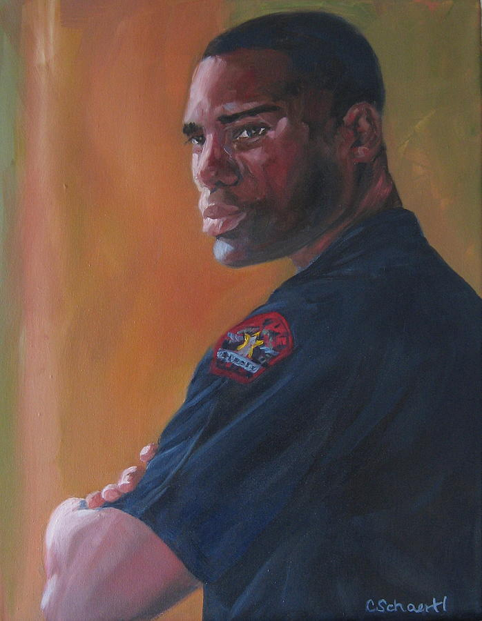 Police Officer Painting - Officer by Connie Schaertl